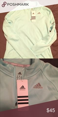 NWT! mint adidas running half zip! NWT! because mint half zip adidas running sweatshirt. no trades! thanks for browsing. reasonable offers considered Adidas Tops Sweatshirts & Hoodies