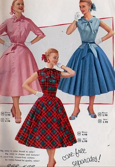Spring Fashion Inspiration from Aldens 1955 Catalog, Care-Free Separates! Cute skirts and matching tops. 1950s Fashion Women, Vintage Fashion 1950s, Fifties Fashion, Vintage 1950s Dresses, Retro Fashion, Vintage Hats, Victorian Fashion, Fashion Fashion, Spring Fashion
