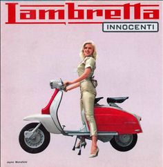 Lambretta ad featuring Jayne Mansfield pretending to ride a scooter in heels. Lambretta ad featuring Jayne Mansfield pretending to ride a scooter in heels. Lambretta Scooter, Scooter Motorcycle, Vespa Scooters, Vespa Girl, Scooter Girl, Vintage Advertisements, Vintage Ads, Poster Vintage, Vintage Shoes