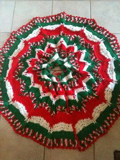 red green and white christmas tree skirt