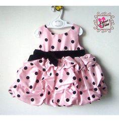 Vestido Infantil rosa com poá preto Tecido Cetim com veludo