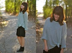 Brandy and Bangs (by Deanne M). Black booties, knotted sweater, lose sweater.
