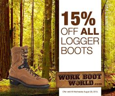 Get 15% off all LOGGER and LOGGER STYLE boots at the workbootworld.com. Includes all regular and clearance priced items. Offer valid until August 26th, 2015. Must use promo code: WBWLOG15A15