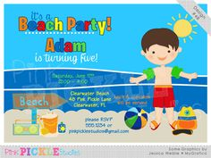Beach Boy Personalized Party Invitation-personalized invitation, photo card, photo invitation, digital, party invitation, birthday, shower, announcement, printable, print, diy,