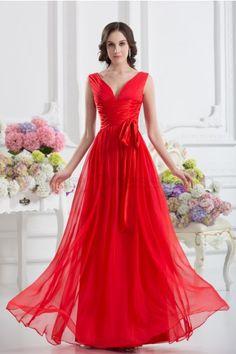 Stretch-Satin , Chiffon Bodenlang V-neck Reißverschluss, Rückenfrei Elegant, Schlicht Abendkleider Rot