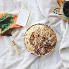 Couldn't get much more gorgeous than this shot from @madeleinelumley enjoying her raw cacao and coconut banana icecream with her new favourite lip nourish!