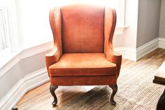 Reserved For Marlene Smith - Vintage Antique Orange Velvet Wingback Accent Chair