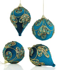 Holiday Lane Christmas Ornaments, Set of 4 Assorted Peacock Velour Embellished - Holiday Lane - Macy's