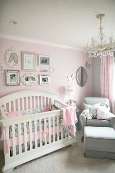 great grey and pink nursery @ DIY House Remodel - love this very pretty and cozy little sitting area.