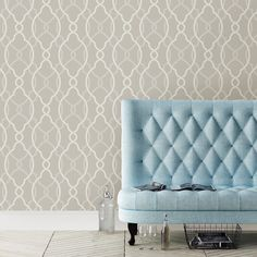 Sausalito Champagne Lattice Wallpaper Swatch contemporary-wallpaper