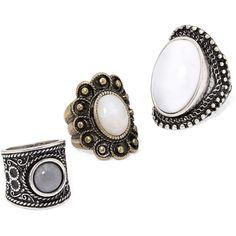 Decree Set of 3 Rings (100 ARS) ❤ liked on Polyvore featuring jewelry, rings, antique jewelry, antique rings, antique jewellery and decree jewelry