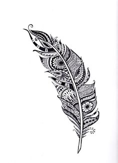 henna feather illustration feather art coloring page by SeaMySoul                                                                                                                                                                                 More