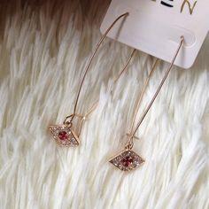 Red evil eye earrings Long red eye diamond earrings. Price firm unless bundle Jewelry Earrings