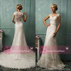 NewestIT1276 2014 Aline Wedding Dresses With Vneck Appliques A-Line Wedding Dresses | Buy Wholesale On Line Direct from China