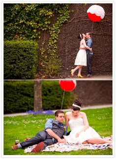 red balloon with dolies wedding portrait