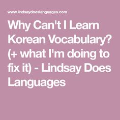 Why Can't I Learn Korean Vocabulary? (+ what I'm doing to fix it) - Lindsay Does Languages