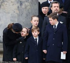 Mary was seen saying some words of reassurance to seven-year-old daughter Josephine