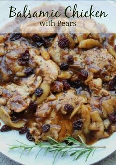 Balsamic Chicken with Pears Recipe | whatscookingamerica.net #balsamic #chicken #pears