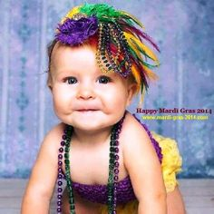 Cute Kids, Baby Girl on Mardi Gras 2014 Pictures, Images, Photos