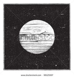 Aspect of Jupiter in December 1885 with a satellite passing the disc, vintage engraved illustration. Dictionary of words and things - Larive and Fleury - 1895. - stock vector