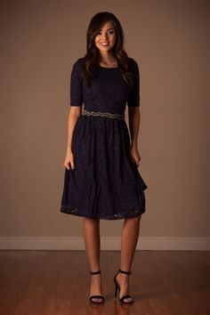Navy Lace Modest Dress by Mikarose | Trendy Modest Dresses | Mikarose Spring 2014 Collection