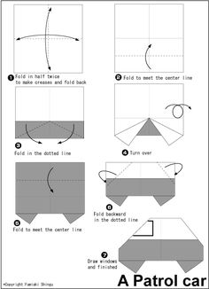 Patrol car - Easy Origami instructions For Kids Origami And Kirigami, Oragami, Origami Paper, Origami Instructions For Kids, Easy Origami For Kids, Easy Origami Flower, Origami Flowers, Origami Printables, 3d Paper Star