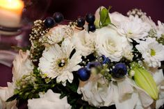 flowers with blueberries on tables Blueberry Wedding, Blueberries, Blue And Silver, Floral Wreath, Reception, Tables, Wreaths, Table Decorations, Flowers