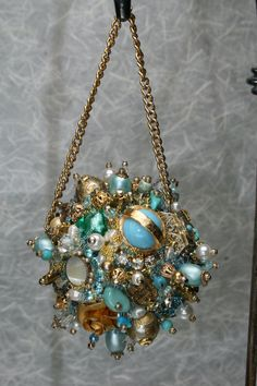 Bejeweled Christmas Ornament Turquoise and Gold Art Piece OOAK Vintage Jewelry Assemblage