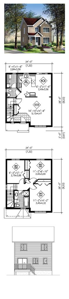 Narrow Lot Home Plan 49788 | Total Living Area: 1296 sq. ft., 3 bedrooms and 1.5 bathrooms. #narrowlothome