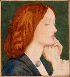 "1854, Elizabeth Siddal by Rossetti from ""The Lust of the Eyes"", a poem by Siddal ""I care not for my Lady's soul Though I worship before her smile; I care not where be my Lady's goal When her beauty shall lose its wile. Low I sit down at my Lady's feet Gazing through her wild eyes Smiling to think how my love will fleet When their starlike beauty dies..."""