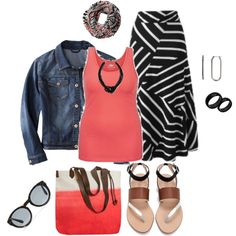A fashion look from February 2015 featuring plus size tank tops, denim jacket and pencil skirt. Browse and shop related looks.