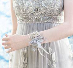 Wrist Corsage of Iridescent Beads - Prom Corsage - Wedding Corsage - by Ky Kampfeld - Bridal Bouquets by Ky