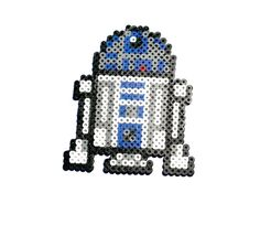 R2D2 Perler Bead - R2D2 Keychain, R2D2 Magnet, Perler Bead Art, Pixel R2D2, Star Wars, Pixelated, 8 Bit
