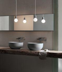 Houten blad met waskom Shui van Cielo via Luca Sanitair #badkamer ...