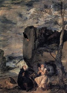 """Diego Velázquez Saint Anthony the Abbot and Saint Paul, the First Hermit; 1634 Museo del Prado, Madrid """" This is a representation in five scenes of the meeting of Saint Anthony the Abbot with Saint. Caravaggio, Spanish Painters, Spanish Artists, Le Prado, Anthony The Great, San Antonio Abad, Diego Velazquez, Web Gallery Of Art, Online Gallery"""