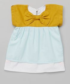 Baby Mustard & Aqua Bow Babe Dress -