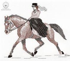 Russian Blackwork: Elegant equestriennes in Blackwork