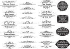 Vintage decorative calligraphic elements for invitations set vector
