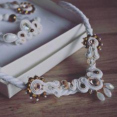 White princess set #soutache #handmade #needlework #soutachemania #jewelry #necklace #earrings #bracelet #design #fashion #fashionjewelry #slovakia #madeinslovakia #bratislava #petrzalka #white #princess #set #biela #sneh #snow  #beads #swarovskicrystals #madebyjasika