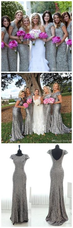 gray sequin bridesmaid dress, long bridesmaid dress, cap