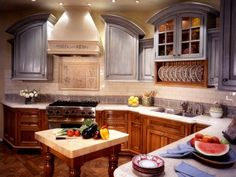 Old-world kitchen cabinets