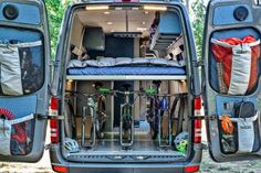 Off Grid Van From Outside Van Is The Ultimate Swiss Army Vehicle Off Grid Van – bike storage - Creative Vans Van Conversion Bike, Van Conversion Interior, Sprinter Van Conversion, Van Interior, Mercedes Sprinter Camper, Benz Sprinter, Off Grid, Bike Storage In Van, Van Kitchen