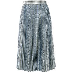 MSGM check pleated skirt found on Polyvore featuring skirts, white, msgm skirt, msgm, checkered skirt, pleated skirt and knee length pleated skirt