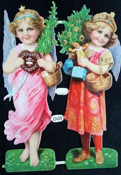 Vintage German Angels with Trees