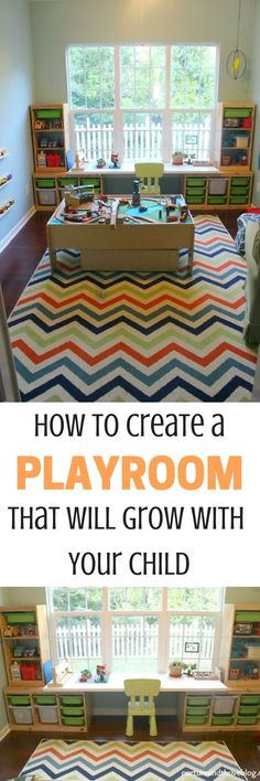 Tips from a child psychologist on creating a playroom that will grow with your child. She also discusses essential play areas all playrooms should have. Playroom Organization, Playroom Decor, Playroom Ideas, Organizing, Kid Playroom, Ideas Dormitorios, Home Daycare, Toy Rooms, Kid Spaces