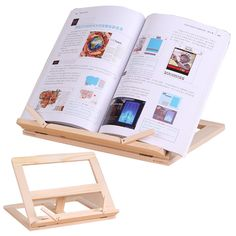 Adjustable Wooden Reading Bookshelf Foldable Portable Student Reading Book Stand Desk Office Essential Bookend Document Holder