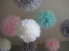Ice Cream Shoppe - 10 Tissue Paper Pom Poms First Birthday Decoration Party - Candy Bar Backdrop - Newborn Photography. $35.00, via Etsy.