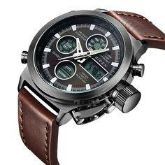 Para hombre Negro cronógrafo relojes hombres resistente al agua vestido de lujo  Moda Fecha Calendario Reloj de pulsera de malla acero… 90bd258237f4