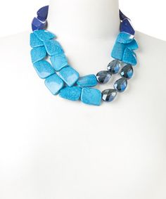 This Blue Crackled Stone Two-Strand Necklace by Lux Accessories is perfect! #zulilyfinds