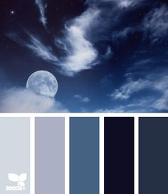 "night blues - ""Although Design Seeds colors inspire many decorating projects, they are not actual paint chips. Scheme Color, Colour Pallette, Color Palate, Colour Schemes, Color Combos, Blue Palette, Design Seeds, Pantone, Foto Picture"
